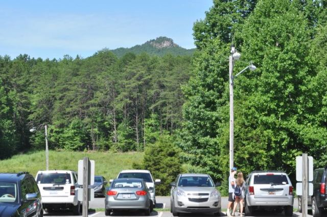 At 1,705 feet above sea level, The Pinnacle is the tallest peak in Crowders Mountain State Park. The summit is seen here from the visitor center, which is 800 feet above sea level.