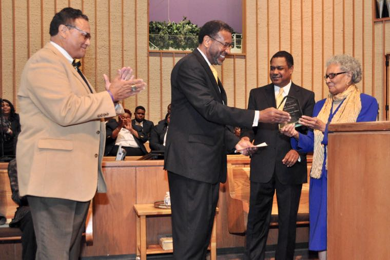 From left to right: JCSU alum and former university trustee Thomas Baldwin; JCSU President Ronald Carter; First Baptist Church-West Senior Pastor the Rev. Ricky A. Woods; and Mildred Grier, JCSU class of 1945, one of the school's oldest living graduates, March 12, 2017. (Qcitymetro)
