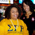 LeAndra Cubbage of Sigma Gamma Rho and Sondra Hines (right)
