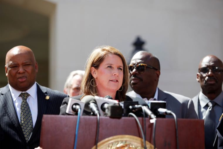 Prosecutor Scarlett Wilson (C) talks to the media outside the Charleston County Courthouse after Dylann Roof plead guilty to state murder charges in the June 2015 Charleston church shooting that left nine black churchgoers dead in Charleston, South Carolina April 10, 2017. REUTERS/Randall Hill