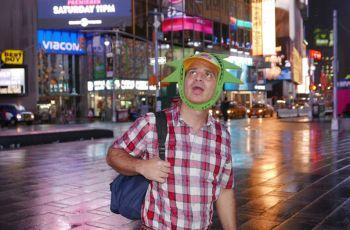 Maikol Yordan (Mario Chacon) hamming it up in New York City