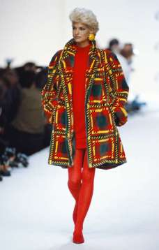 LINDA EVANGELISTA Evangelista, now 52, is mad about plaid as she sports a patterned coat over a red minidress at Oscar de la Renta's autumn-winter 1991-1992 fashion show in Paris. © Pierre Vauthey/Sygma/Corbis/Getty