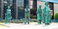 Statues in front of the Central Bank of Costa Rica (BCCR), downtown San Jose