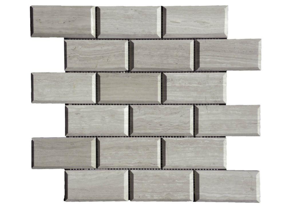 wooden gray limestone mosaic tile qdi