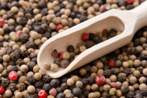 mixed peppercorns w wooden scoop rectangle
