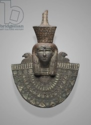 Aegis of Isis, Third Intermediate Period, Dynasty 22, 945-–712 B.C. (bronze with inlays of electrum silver & bronze)