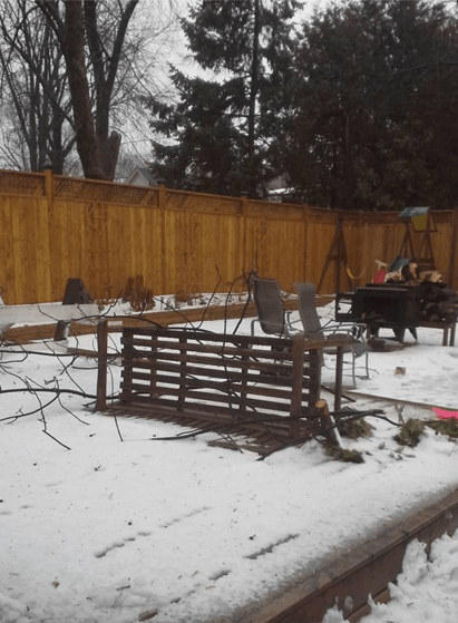 Downed branches knocked over this backyard bench near Cawthra and Lakeshore roads on Monday, Dec. 28, 2015. (Photo: Jen Rye)