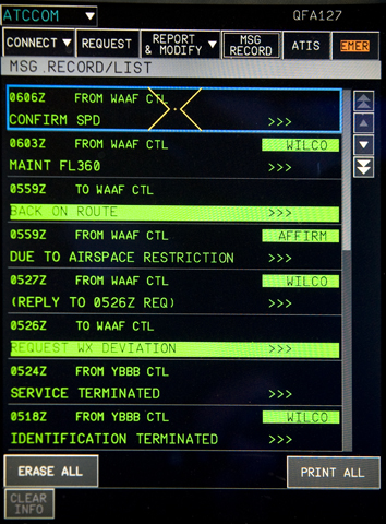 The Multi Function Display (MFD) (located on the centrel pedestal beside each pilot) displaying the CPDLC log. The MFD interfaces to the following systems: Flight Managemenet Systems, Auto Flight System, Controller Pilot Data Link Communications, SURVeillance ( Ground Proximity Warning System, Traffic Collision and Avoidance System), and the Flight Control Unit (backup)