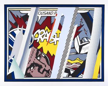 Reflections on Crash, 1990 - lithograph, screenprint, and metalised pvc collage on paper, Edition of 68, 150 x 190 cm