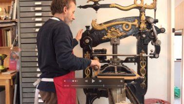David Frazer on wood block press