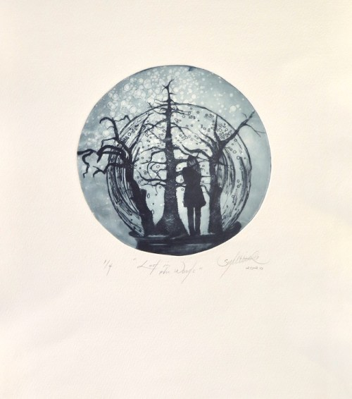 Lisa Sewards Lost in the Woods etching 2020