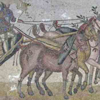 Quadriga in un mosaico romano, sport di cui tratta l amuleto ebraico di Antiochia