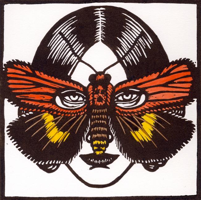Deborah_Klein Cyana-mericki-Moth-Mask-2009-linocut-hand-coloured-15-x-15-cm