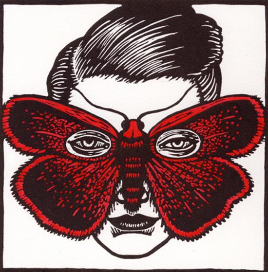 Scoliacma-bioclora-Moth-Mask,-2009,-linocut,-hand-coloured-15-x-15-cm