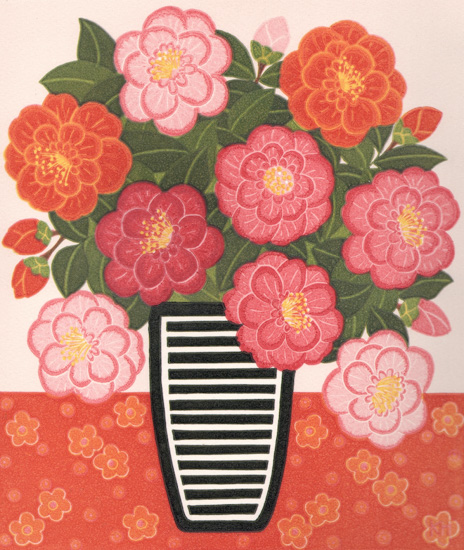 Kate Hudson_2012_Camellias and Striped Vase_reduction linocut_26x22cm