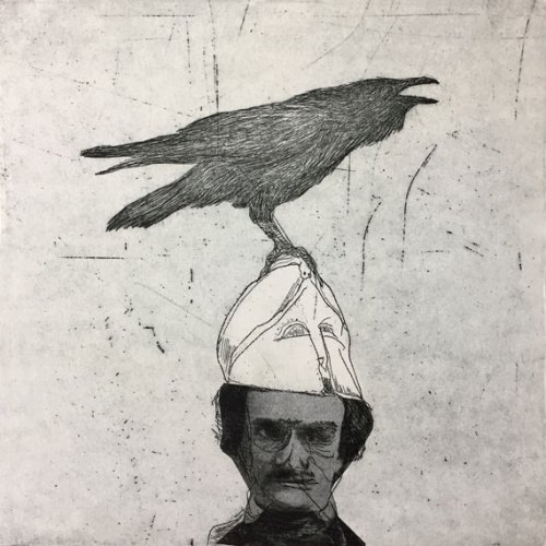 Julie-Mia-Holmes--Edgar-Allan-Poe--Nevermore-Etching-with-chine-colle