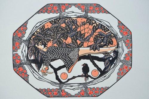 Scott_Gwen,Orange plate,2017,reduction linocut