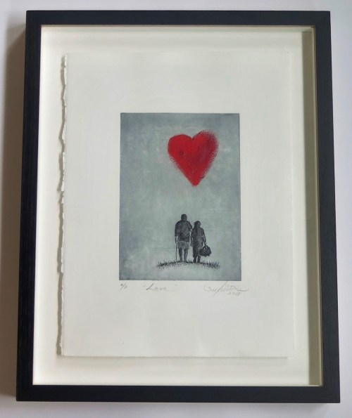 Lisa Sewards Love (framed)__etching_hand coloured