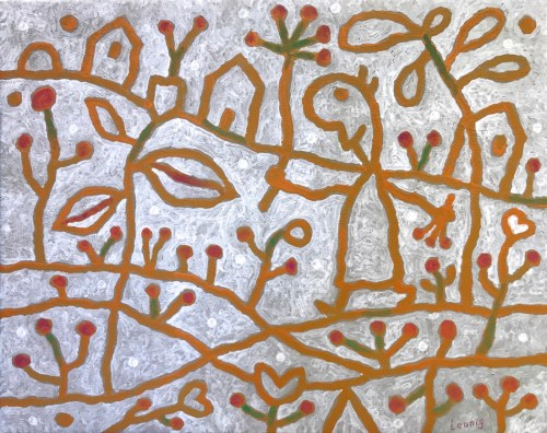 Michael Leunig Gathering Herbs acrylic on canvas 39.5 x 51cm