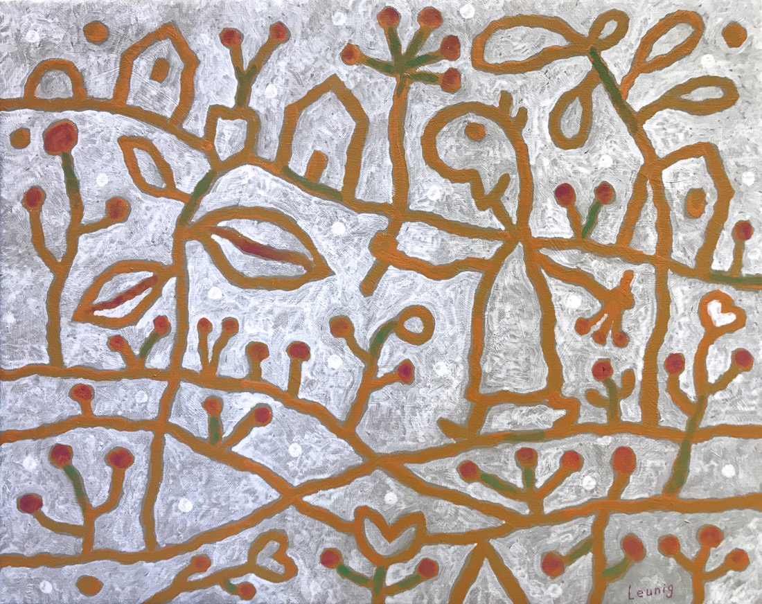 Michael Leunig Gathering Herbs acrylic on canvas 39.5 x 51cm