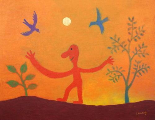 Michael Leunig A Wide Embrace 2019 36 x 46cm