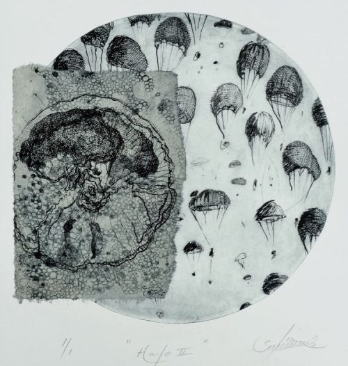 Lisa Sewards Hallo II etching chine-colle