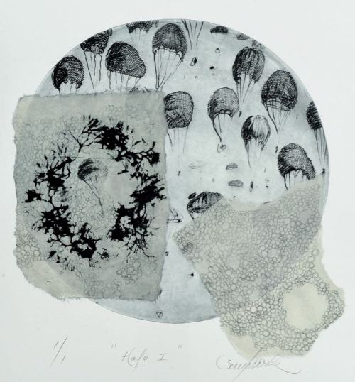 Lisa Sewards Halo I etching chine-colle