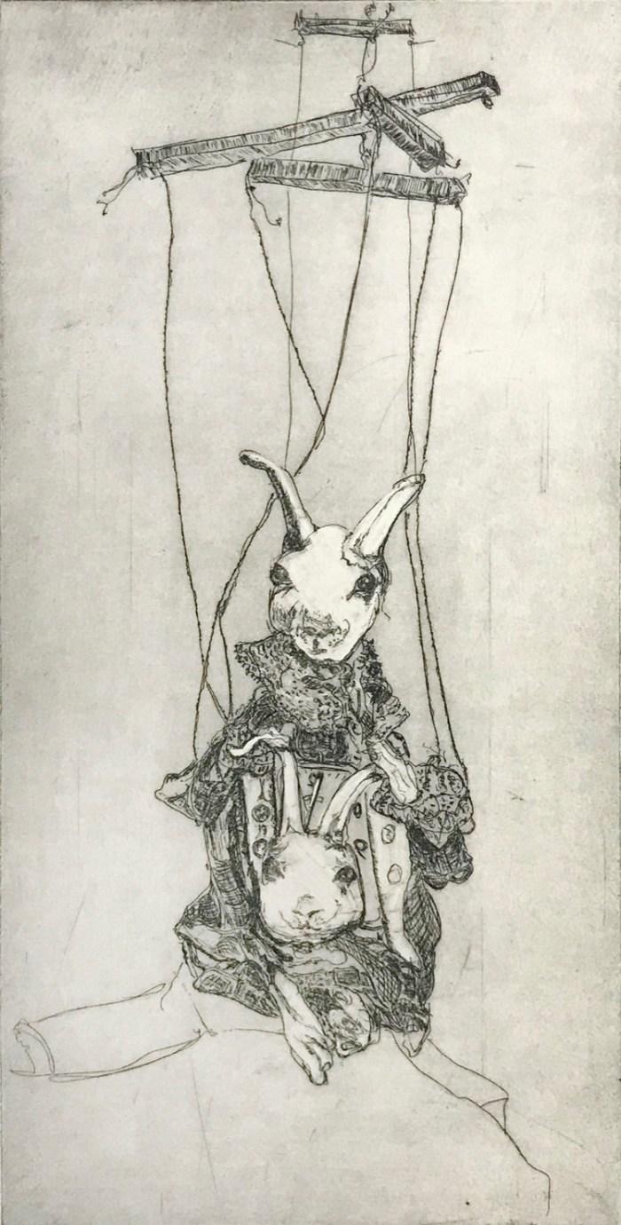 Soula Mantalvanos Hare's Heads etching