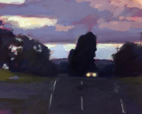 David Moore Evening Castlemaine 25 x 30 gouache $1700