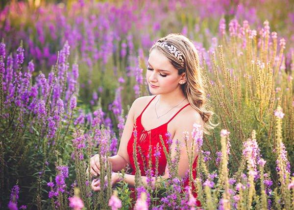 amazing girl's senior portrait in purple flower field Q Hegarty Photography photographer Chelmsford, MA