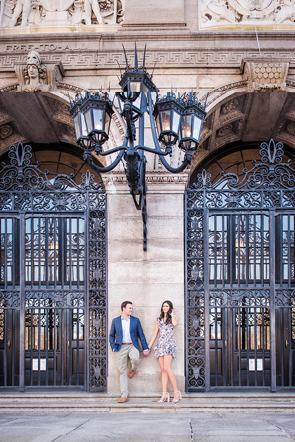 engagement photos at Boston public library Q Hegarty Photography wedding photographer in Boston