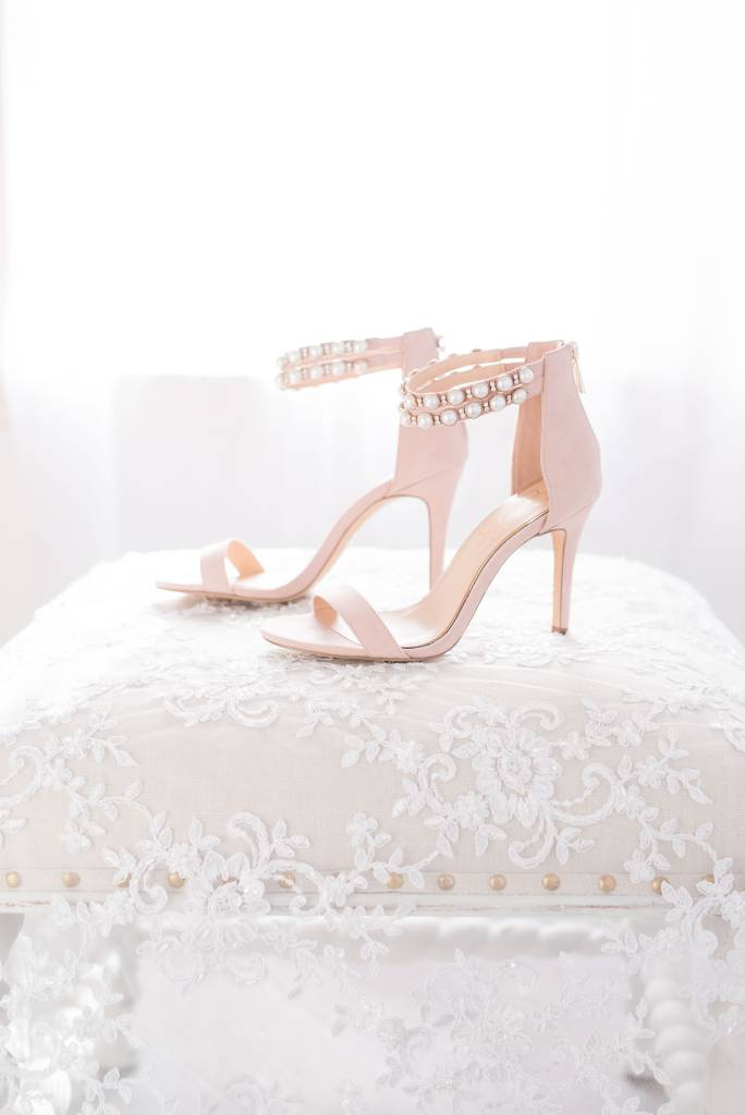 lace veil, bridal shoes with pearls, wedding photographer Boston, MA, wedding photographer near Gibbet Hill Groton, MA