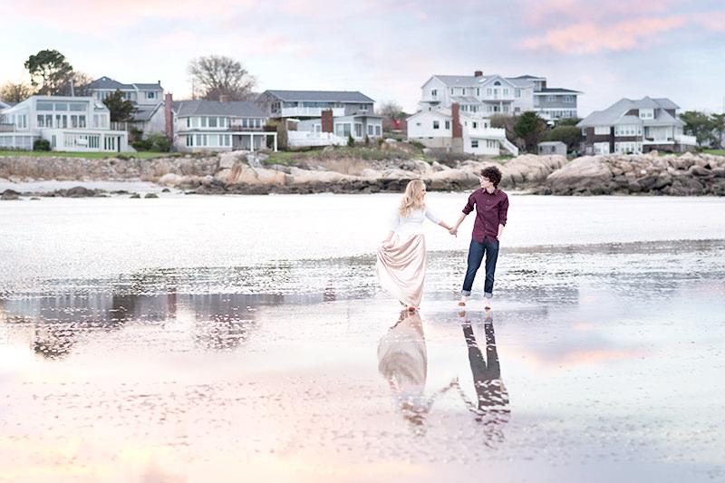 beach sunset engagement photos Q Hegarty Photography wedding photographer Groton, MA