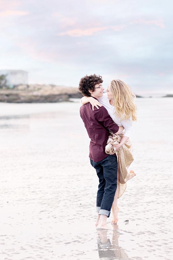 fun and romantic sunset beach engagement photos Q Hegarty Photography wedding photographer Gloucester, MA