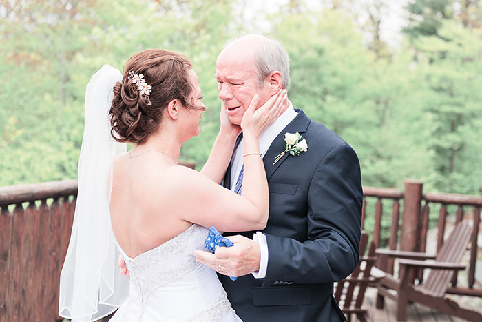 emotional father daughter first look before ceremony Q Hegarty Photography wedding photographer near Manchester, NH
