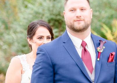nervous bride at first look fall wedding Zorvino vineyard Sandown NH Q Hegarty Photography weddings and portraits
