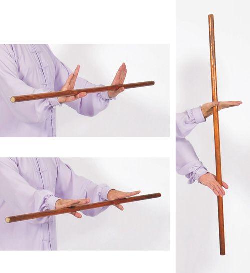 Taiji Yangsheng Zhang como sostener el bastón 3 formas diferentes.