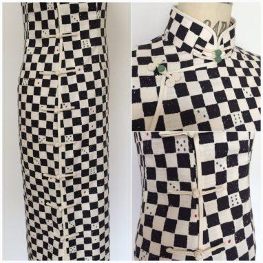 サイコロ柄のチャイナドレス(旗袍)。atelier leilei提供。