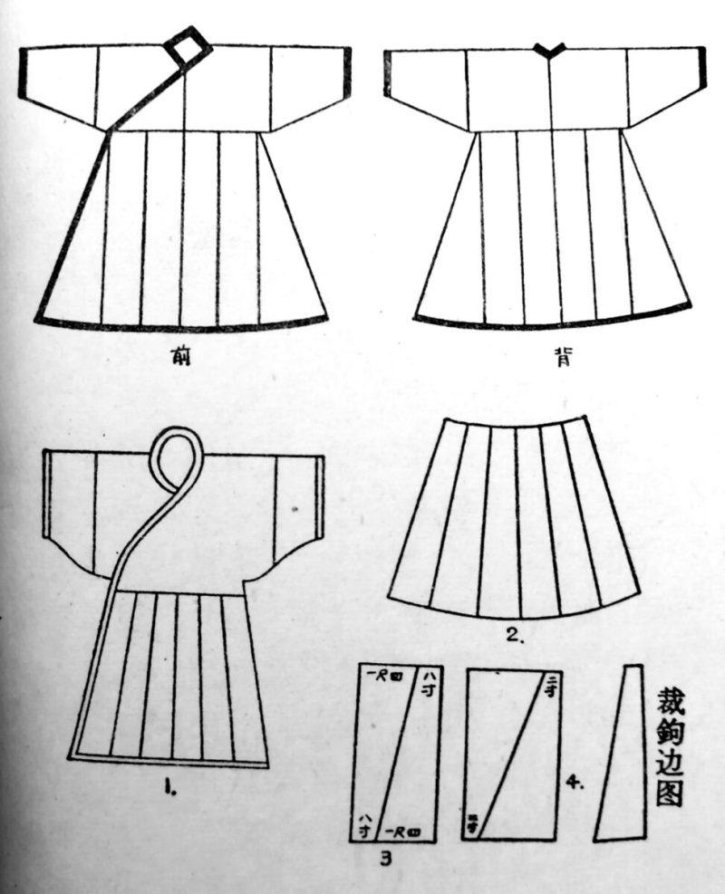 深衣といわれるワンピースのイラスト。上下を縫い合わせた衣服です。