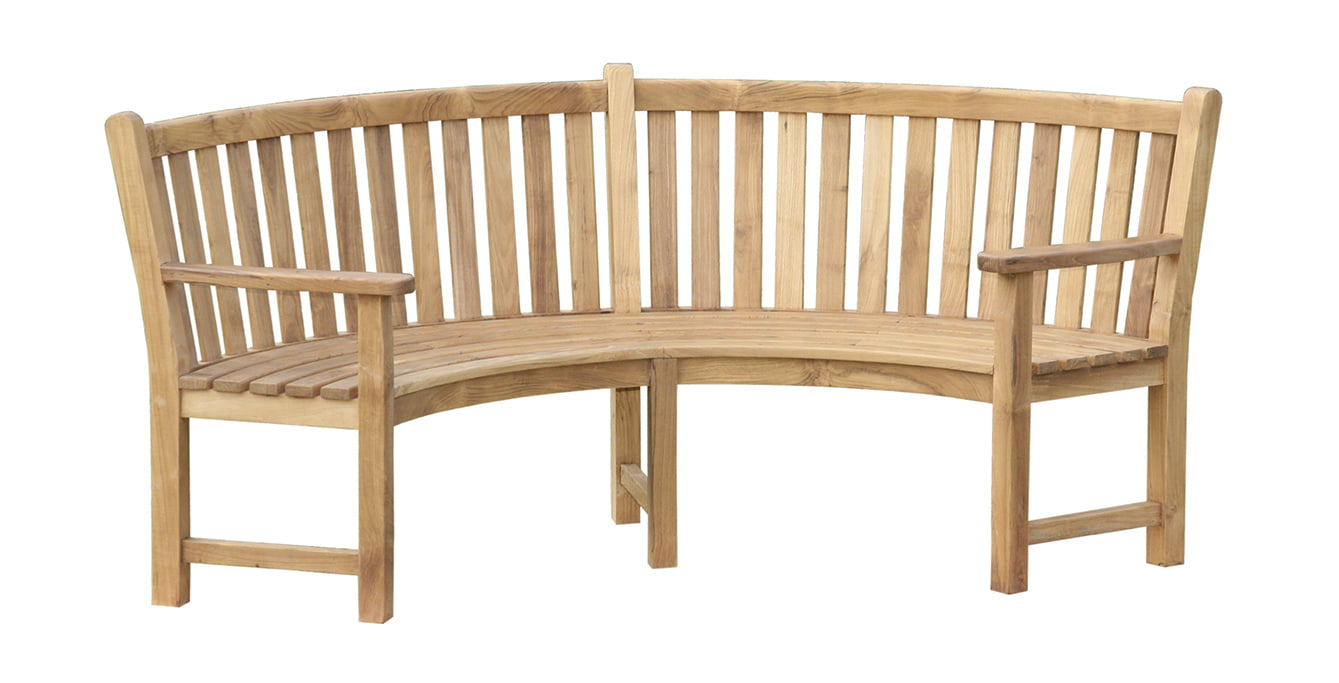 Curved Bench With Arm Indonesia Teak Garden Furniture Manufacturer