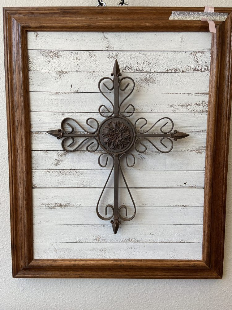 Metal Cross on Ship Lap with Oak Frame