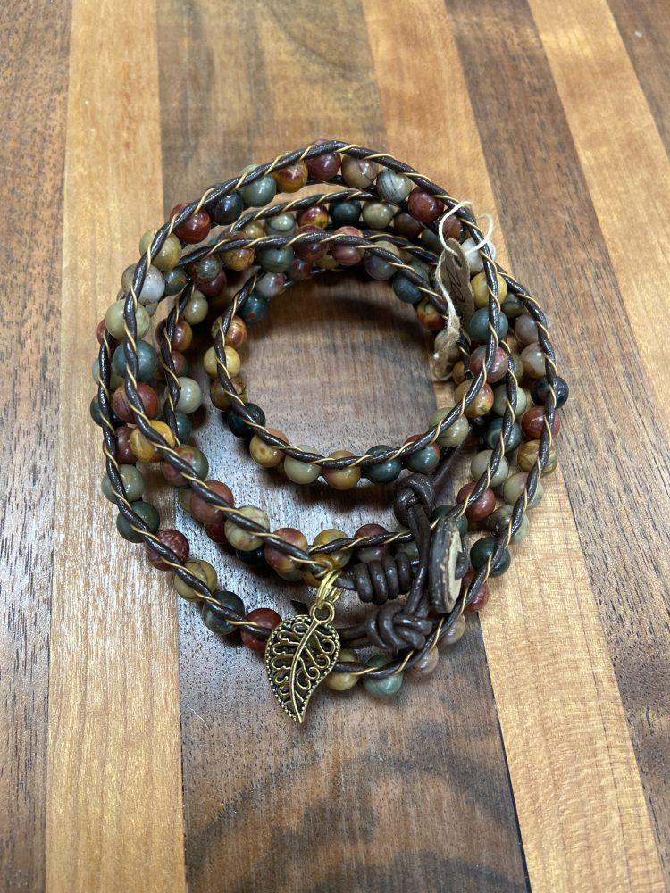 Four Wrap Leather Bracelet with Picasso Jasper on Brown Leather