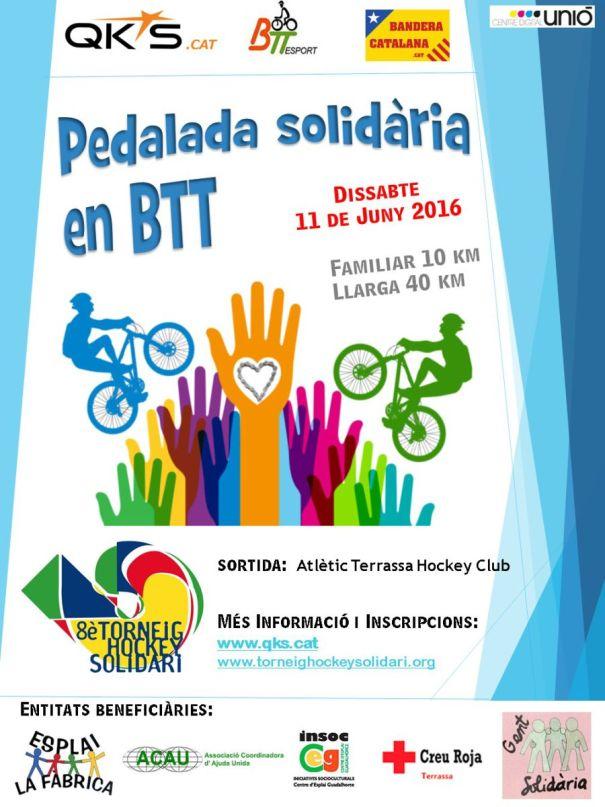 poster pedalada solidària bicicleta btt terrassa ths qks de llum