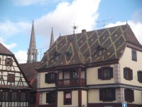 One of the many colourful rooves in Alsace on the route du vin.