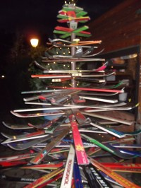 A Christmas ski tree in COlmar, at the end of the route du vin.