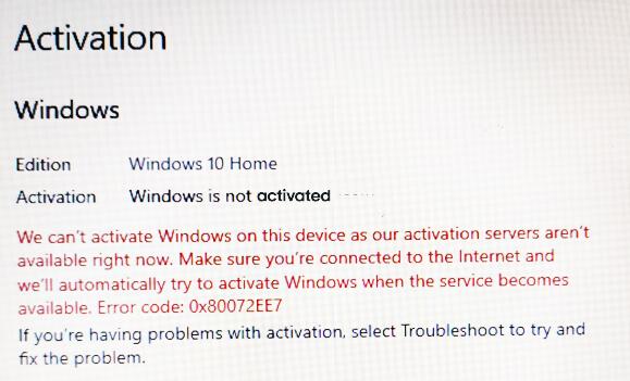 Activation Error 0x80072EE7 in Windows 10 2
