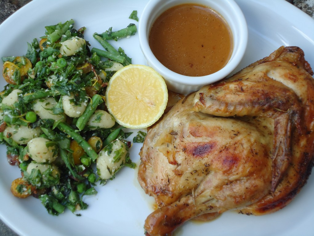 Roasted Chicken and Gnocchi with Herb Pesto, Peas, Green Beans and Lemon Vadalia Onion Gravy