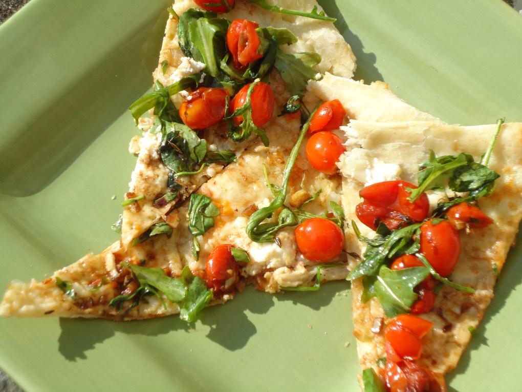 White Pizza with Arugula Balsamic Cherry Tomatoes