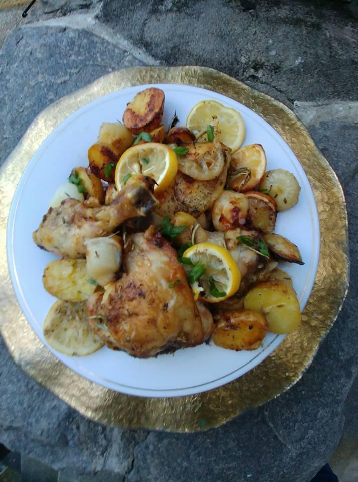 chicken onions potatoes