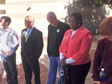 Charlotte City Councilmember LaWana Mayfield with Councilmembers John Autry and Billy Maddalon (from right).